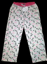 NWT PARIS GIRL DOG POODLE PINK BLACK WOMEN'S LOUNGE PAJAMA PJ PANTS LOUNGERS S