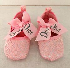 Scarpette per neonata rosa in pizzo Dior 6-12 mesi, nuove senza confezione.