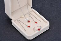 925 Sterling Silver Tiny Red Love Heart Jewelry Set: Necklace+Earring+Ring