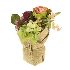 Artificial Flower Arrangement Potted Hessian Style Red Pink Rose Berries REDUCED