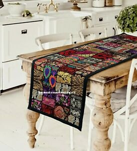 Indian Vintage Patchwork Table Runner Handmade Wedding Party Table Cloth Liners
