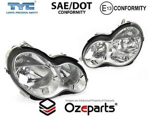 Set Pair LH+RH Head Light Lamp For Mercedes Benz C Class W203 Sedan Wagon 04~07