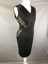M&S Size 18 Black Pencil Wiggle Dress Lace Detail Inserts V Neck Back Slimming