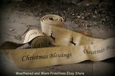 """Primitive Country Aged Fabric Garland Stenciled with """"Christmas Blessings"""" 8 ft"""