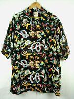 Vintage Pineapple Juice Hawaiian Aloha Rayon Shirt sz XXL Black Made in Hawaii