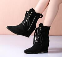 Women's Lace Up Wedge Hidden Heels Zipper Ankle Boots Platform Pointy Toe Shoes