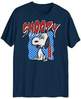 Peanuts Mens T-Shirt Navy Blue Size Large L Graphic Snoopy Checkered Tee #243