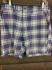 Croft&Barrow 4130 Blue Plaid Shorts Mens 34