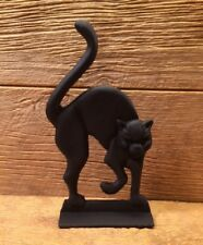 "Cast Iron Black Cat Door Stop 12"" tall Home Door Decor 0170-14509"