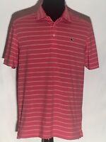 Vineyard Vines Embroidered Logo Medium M Pink Striped Short Sleeve Polo Shirt