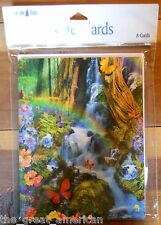 8 Leanin Tree Note Cards FANTASY, BUTTERFLIES, FLOWERS, WOODS, Made in USA