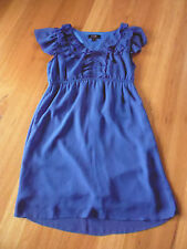 LADIES CUTE BLUE LINED SLEEVELESS POLYESTER DRESS BY CAROLINE MORGAN SIZE S 8/10