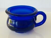 "Degenhart Art Glass Cobalt Blue Chamber Pot  Cup Pottie Salt 1.5"" tall"