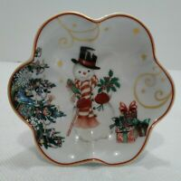 Williams Sonoma Snowman Bowl TWAS THE NIGHT BEFORE CHRISTMAS Nut Candy Dish