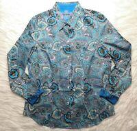 ROBERT GRAHAM BLUE PURPLE BLACK PAISLEY COTTON BLEND SHIRT BLOUSE SIZE XL NWOT