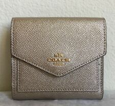 NWT!! COACH METALLIC LEATHER SMALL WALLET 59972 IN PLATINUM $99