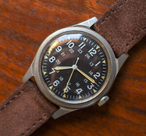 Vintage HAMILTON 1971 GG-W-113 Vietnam War Era Military Issued Hack Set Watch