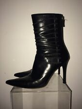 GUCCI Pointed Toe Black Leather Stiletto Heel Booties size 7 B (6.5/7 US)