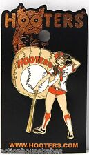HOOTERS SEXY BASEBALL GIRL WITH GLOVE AND BAT LAPEL PIN - Home-run, Batter-up