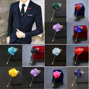 Lapel Flower Camellia Boutonniere Stick Brooch Pin Mens Shirt Suit Tie Womens