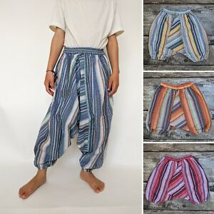 Childrens stripey harem trousers baggy pants hippy hippie boho kids baby 0-8 yrs