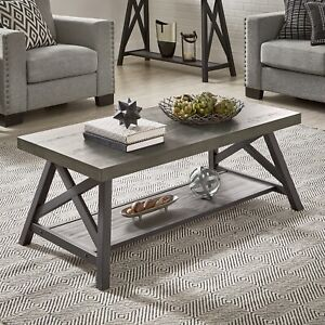 RUSTIC X-BASE ACCENT TABLES - GREY FINISH, COFFEE TABLE ONLY E460GA-30