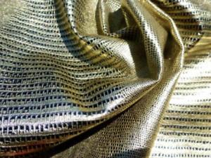 lambskin sheep leather hide skin Metallic Black & Gold Embossed Lizard 5sf 1oz