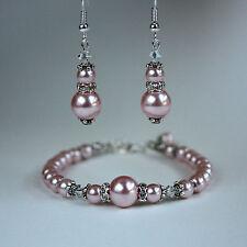 Pink blush vintage crystal pearl bracelet earrings silver wedding bridal set