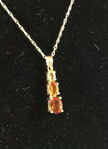 """Citrine 14k Yellow Gold Pendant And 18"""" Chain 3 Stones .8 Carats"""