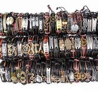 30pcs New Styles Vintage Biker punk leather Cuff Bracelets Wholesale Mixed lot