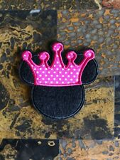"""1 Minnie Mouse Crown Princess Iron On Sew On Patch 3"""" L x 3"""" W Same Day Ship"""