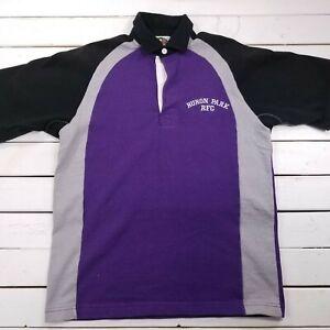 Barbarian Rugby Wear Polo Mens Medium Purple Black Huron RFC Short Sleeve P220