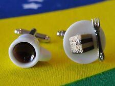 Coffee and Cake Cufflinks--Artsy Handmade Cool Foodie Cute Dessert Baking Chef