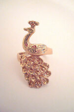 Gold Tone Ornate Peacock Bird Statement Ring Size R