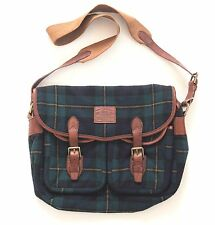 POLO RALPH LAUREN Wool Tweed Burnished Leather TARTAN BLACKWATCH Messenger Bag