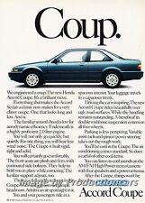 1988 Honda Accord Coup Coupe Original Advertisement Print Art Car Ad J760