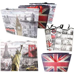 Large Gift Bag London Icon Souvenir GB Theme News Paper Print Wrapping Present