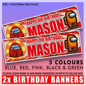 """2 PERSONALISED AMONG US BIRTHDAY BANNERS 36 """"x 11"""" - ANY NAME ANY AGE 36"""" x 11"""""""