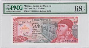 1973 Mexico Banco de Mexico 20 Pesos P# 64b  PMG 68 EPQ  .