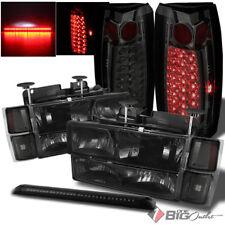 For 94-99 Tahoe/Suburban Smoked Headlights Set + LED Tail Lights + LED 3rd Brake