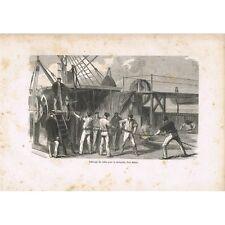 GRAVURE Câble Transatlantique sur Great-Eastern 1865 Recherche de défauts XIXè S