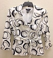 Blk & Wht Geo Print SANDRO 3/4 Sleeve  Belted Lined Blazer Career Jacket Sz MED