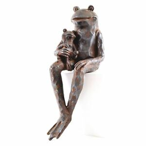 Decorative Garden Pond Sitting Frog Toad Ornament Father Son Statue Sculpture
