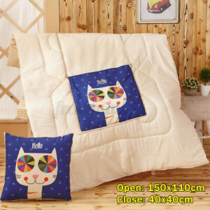 2in1 illow Quilt Multi-function Foldable Throw Blanket Cushion Home Sofa