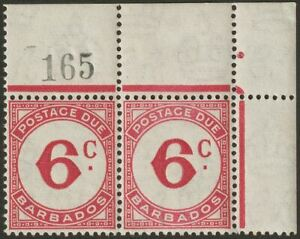 Barbados 1950 KGVI Postage Due 6c Ord Paper Sheet No Pair Mint SG D6 cat £46