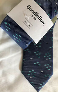 New Goodfellow & Co Men's Neck Tie Pearl Fish Nautical Blue Woven Polyester