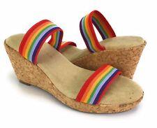 Apostrophe Women's Sz 7 Rainbow Cork Wedge Sandals Riley Shoes Pride 70's Style