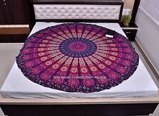 Violet Mandala Roundie Tapestry Yoga Mat Throw Indian Wall Hanging Table Cover