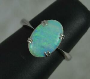 Sublime Antique Platinum and Natural Opal Solitaire Ring