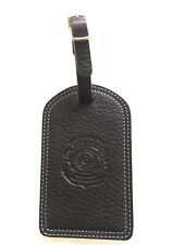 Ghurka luggage tag Black leather with White stitching New